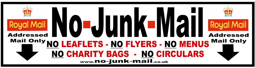 No Junk Mail Letterbox Sticker, Warning Sign, Label, Vinyl Decal Sticker, Label, Royal Mail Image, Addressed Mail Only, No Junk Mail Sign