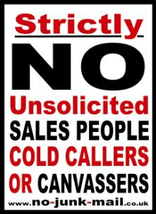 Strictly No Cold Calling Sticker, No Cold Calling Sign, No Cold Callers Sign, No Cold Callers Sticker
