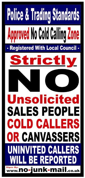 No Cold CALLING ZONE STICKER, NO SALES PEOPLE, NO COLD CALLERS, NO CANVASSERS, LOCAL COUNCIL, POLICE AND TRADING STANDARDS WARNING NOTICE, BUY SIGNS, BUY STICKERS, FRONT DOOR, WINDOW SIGN,