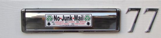 NO JUNK MAIL SIGN, NO JUNK MAIL STICKER, NO JUNK MAIL LETTERBOX STICKER