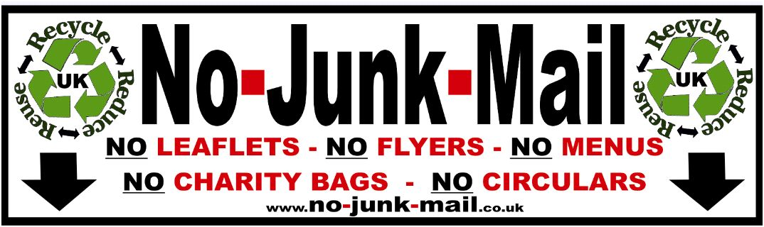 (No Junk Mail Sign Ref ID Junk) No Junk Mail Sign, No Junk Mail Letterbox Sticker, Free, Vinyl Decal Label, How To Stop UK Junk Mail, Self Adhesive No Junk Mail Sign/Sticker, Stick On. Front Door, Window Sticker, no junk mail sign uk, Buy, Purchase, Suppliers, selection, Unwanted Mail, Addressed Mail Only