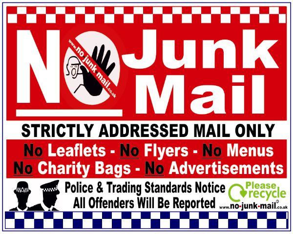 no junk mail letterbox signs no junk mail window stickers uk