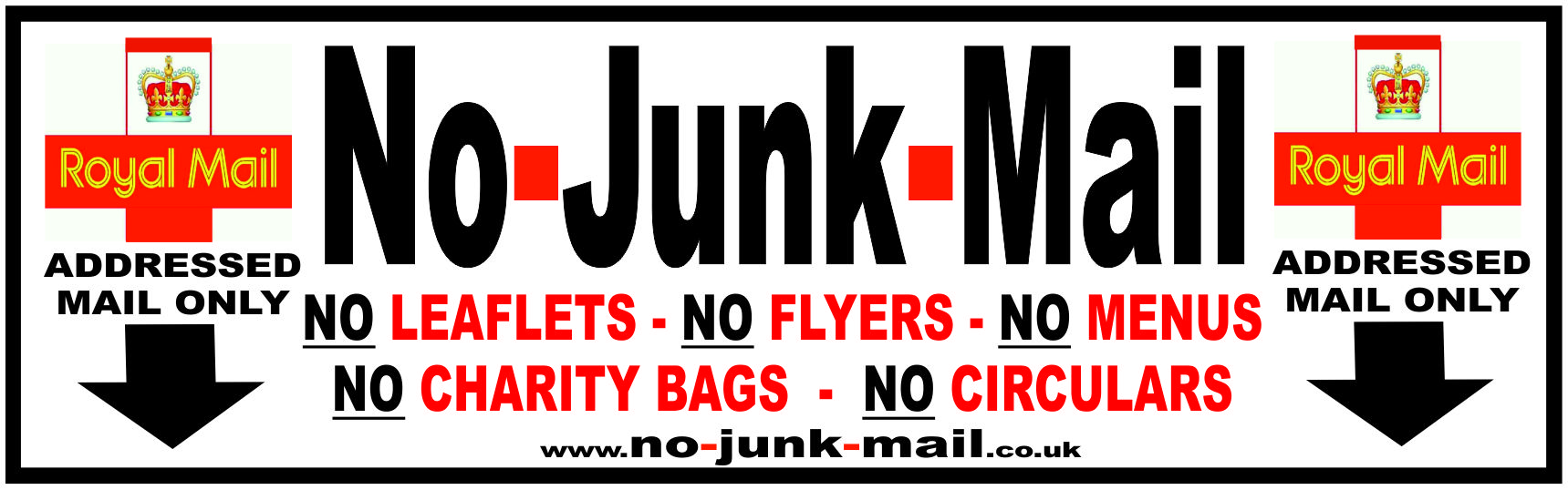 No Junk Mail Letterbox Signs No Junk Mail Window Stickers UK - Vinyl stickers uk