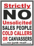 No Cold Callers Sign, No Cold Calling Sticker, No Cold Callers Sticker, No Salesmen, No Sales People, No Canvassers, No Hawkers