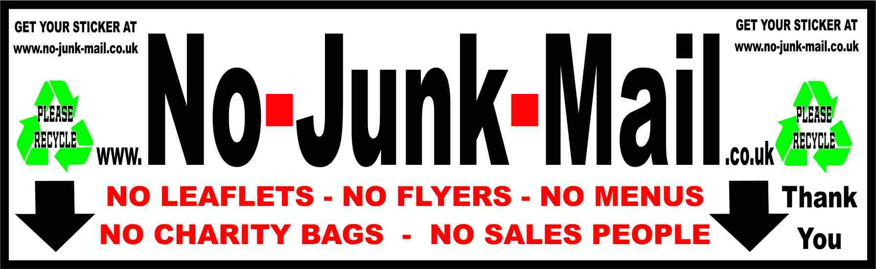Our Official No Junk Mail Sign, No Junk Mail Sticker, junk mail sign, junk mail sticker
